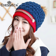 CHESSIECA Candy Beanie Knitted Caps Fashion Crochet Hats Pompons Curling Ear Protect Winter Cute Casual Cap Gorro Feminino