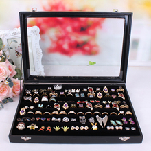 Glass GaiJinYin jewelry ring display box accessories receive box rings earrings stud earrings fashon jewelry organizer holder