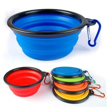 Dog Folding Collapsible Feeding Bowl Silicone Water Dish Cat Portable Feeder Puppy Pet Travel Bowls(China)