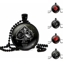 Statement Necklace Poker Style Pattern Glass Round Dome Pendant Collier Femme Black Bead Chain Long Necklace Women Jewelry Gift