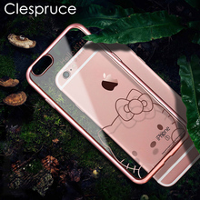 Luxury Plating Cute Cartoon Phone Case for iphone 7 8 plus Daisy Hello Kitty rose gold Soft Clear Cover for iphone 6 6s 6 Plus(China)