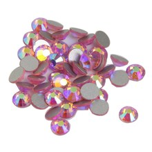 50PCS/LOT 3D Nail Art Stickers 5*5MM Flat Back Pink Crystal Acrylic Rhinestones Cheap Nail Jewelry Manicure Nail DIY Tools WY332