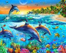 Diamond Embroidery dolphin icon 5D Diy Diamond Painting cross stitch Animals Full round Diamond Mosaic picture Home Decoration