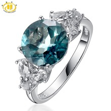 Hutang 925 Sterling-Silver-Jewelry Fine Women Rings Cocktail Wedding Big Natural Blue Fluorite & Topaz Diamond Jewellery Bague