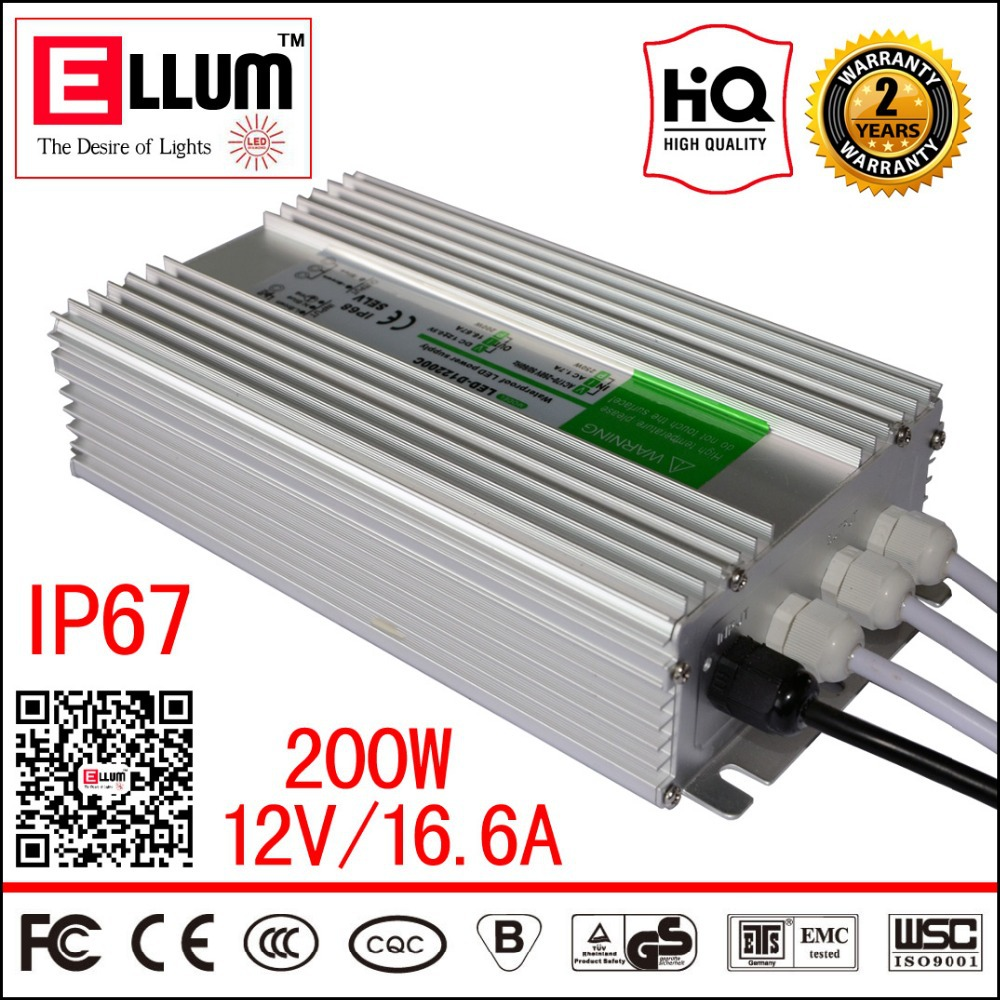 Waterproof LED Strip Driver Transformer IP67 CE ROHS Approval AC90-265V to DC12V 16.6A 200W LED Power Supply Outdoor Used<br><br>Aliexpress
