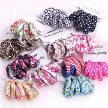 6 Pcs/Set 2017 New Style Colorful Kids Girls Cotton Print Ponytail Holder High Elastic Hair Ropes Fashion Hair Bands Accessories
