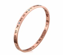 Titanium Steel Rose Gold Roman Numeral Bracelet with Cubic Zirconia Hinged Bangle(China)