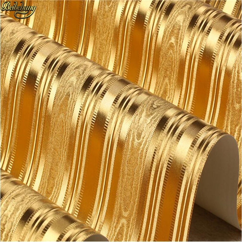 beibehang 3D embossed gold foil wallpaper scroll room bedroom wallpaper red brown wallpaper modern luxury gold striped wallpaper<br>