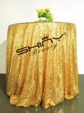 Cheap!!! Mesh Gold 90inch Round Sequin Fabric Tablecloth For Wedding/Event/Party/Banquet/Christmas Decoraitons