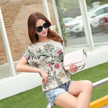 2017 Lady Plus Size Top Summer Women Casual Short Sleeve Blouses Flower Print Soft Loose Blouses Student Tee(China)