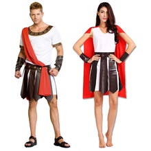 Halloween Carnival Adult Ancient Roman Greece Greek Warrior Soldier Gladiator Costume Great Caesar Costumes for Men Women Couple(China)