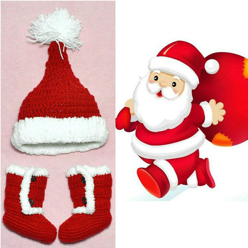 Christmas Gifts Toddler Baby Knitted Crochet Set Newborn Photo Props Santa Claus Costume Hat and Booties In Red(China)
