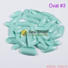 500pcs/pack Sky Blue Oval Nail Tips Full Cover False Nails Acrylic Fake Nail Tips Unghie Finte Artificial Acrylic Nails Oval #3(China)