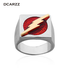 The Flash Superhero Ring with Gold Flash Lighting Logo Silver Ring,DC Movie Comic Ring Jewelry(China)