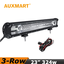 "Auxmart CREE Chips LED Light Bar 23"" 324W fit 4x4 Truck SUV Pickup ATV 4WD Offroad Led Work Light For Jeep Nissan Toyota"