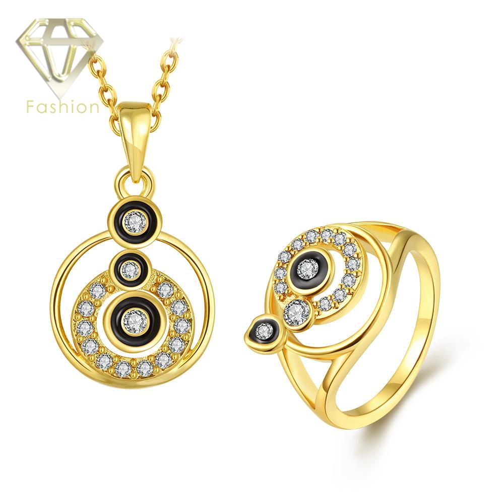 Gold Jewelry Online Trendy Multi Circles Design Inlaid Cubic Zirconia Rose White Color