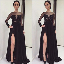 Elegant Black Bridesmaid Dresses 2016 O Neck Long Sleeves Appliques Wedding Party Dresses vestido de festa de casamento