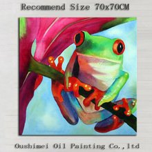 High Quality Handmade Work Modern Abstract Frog Oil Painting On Canvas Hand-painted Funny Animal Frog Canvas Painting Decorative