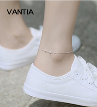 VANTIA Best Deal New 925 Sterling Silver Square Women Chain Ankle Bracelet Sandal Beach Foot Anklet Gift 1PC Free Shipping(China)