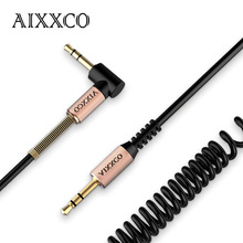 AIXXCO 3.5mm audio Aux Cable Jack 3.5 to Jack Gold Plated 90 Degree Angle spring Audio Cable 3.5mm male to male for iphone car