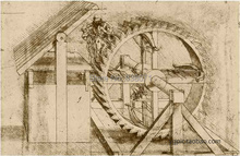 100% cotton canvas oil painting core Da vinci mechanical drawings 10(China)