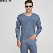 MFERLIER winter Pajamas Men Cotton Sleepwear solid Men's Sleep & Lounge Wear Pajama Set Long-sleeve warm male homme undershirts(China)