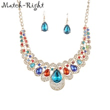 Match-Right Women Necklace Statement Necklaces & Pendants Multicolor Crystal Necklace For Women Jewelry Nl603(China)