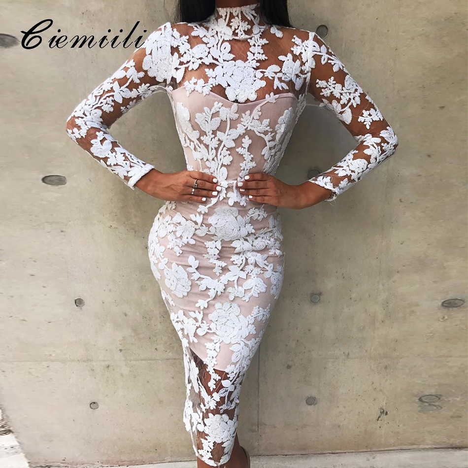 CIEMIILI 2019 Sexy Club Lace Women Dress Long Sleeve Fashion Evening Party Bandage Dresses White Elegant White Autumn Clothes