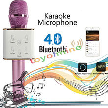 Portable wireless speaker & microphone 2 in 1 Bluetooth karaoke support USB flash drive and battery recharging for mobile phone