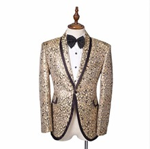 Fashion 2017  Men's Blazer Gold Printed Jacket Plus Size Staphyloccus star small paillette suit top outerwear male formal dress