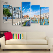 5Pcs/set Modern Canvas Painting  Wall Art Italy Venice Landscape Oil Painting Beautiful City River Decorative Picture Home Decor