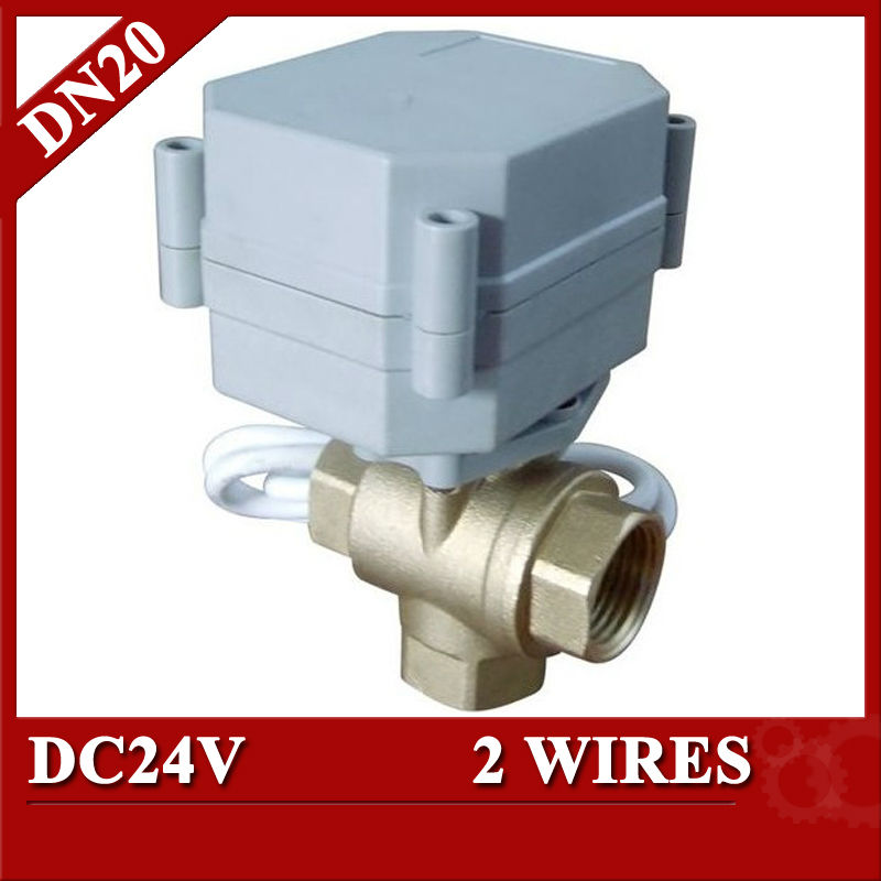 3/4 24VDC  3 way electric valve , T type motorized valve, 2wires for water heating and cooling,water control<br><br>Aliexpress