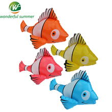 4 Pieces/Set 55cm Yellow Pink Orange Blue Inflatable Clown Fish Water Play Toy Pool Floats Baby Bath Toys Balloon Air Mattresses
