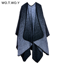 WOTWOY Autumn Winter Cashmere Ponchos Women Casual Shawl Blanket Loose Oversized Knitting Capes Irregular Pullover Poncho Female