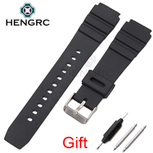 Rubber Watch Band Strap Sport Diving 18 20 22mm Men Silicone Bracelet With Silver Stainless Steel Metal Needle Buckle For Casio(China)