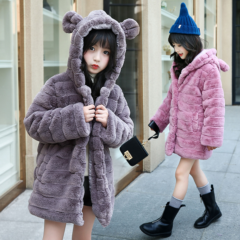 Retail 1Pcs Brand New Design Girls Cute Winter Hooded Thick Fur Coat Jacket School Girls Long Style Warm Outdoor Coat Outwear <br>