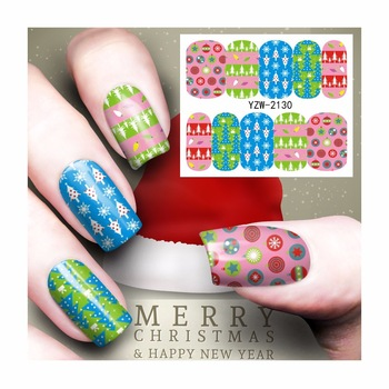 YZWLE 1 Sheet Nail Art Water Tattoo Design Nails Christmas Holiday Design Water Transfer Decals 2130