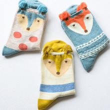 6PCS=3Pairs/lot New Warm Christmas Gifts Cute Fox Head Soft Cotton Socks Lovely Santa Claus Deer Socks High Quality Happy Style