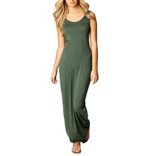 Women Sexy Sleeveless Dress Bodycon Party Long Maxi Dress Summer Beach Dresses