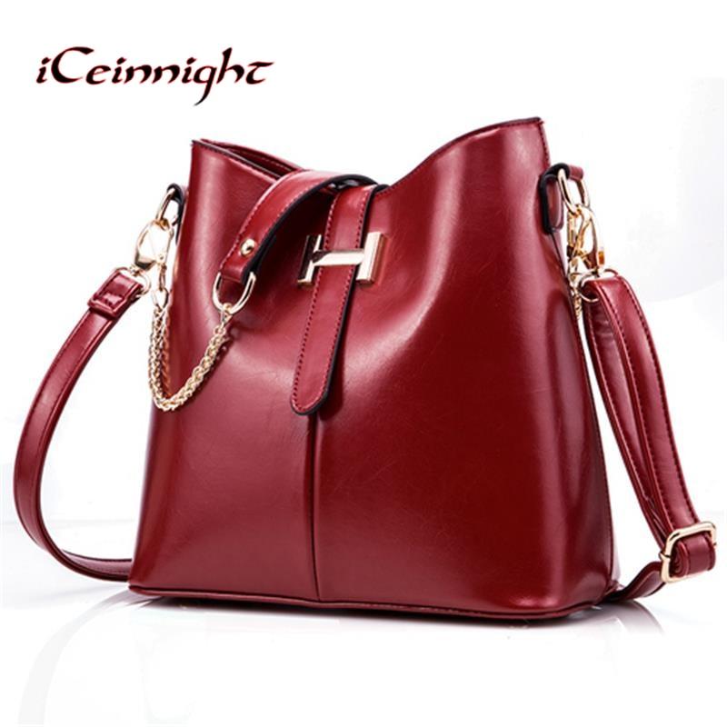 iCeinnight 2017 new womens bag fashion womens handbag PU leather bag women shoulder bag famous brand ladies handbag gold chain<br>