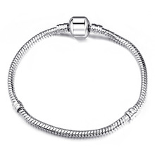 New High Quality Silver Plated Snake Chain Bracelet Diy Silver Bead Fit Pandora Bracelets Women With Logo Fine Jewelry