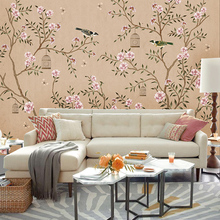Chinese style 3D non-woven 3d wallpaper bedroom background flower design  wall mural corridor entrance
