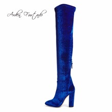 2017 spring autumn winter summer platform high heels blue red velvet boots for woman over the knee high Stretch boots long shoes(China)