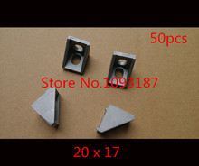 50pcs/lots 2020 corner fitting angle aluminum 20 x 20 L connector bracket fastener match use 2020 industrial aluminum profile(China)