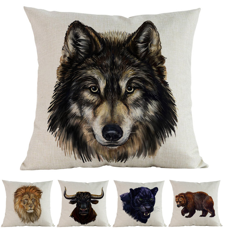 US SELLER cushion pillow covers watercolor wolf wild animal cushion cover