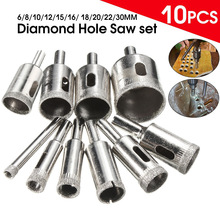 10Pcs Marble Drill Bit 6-30mm Diamond Coated Hole Saw Core Drill Bit for Tile Glass Slate Marble --M25(China)