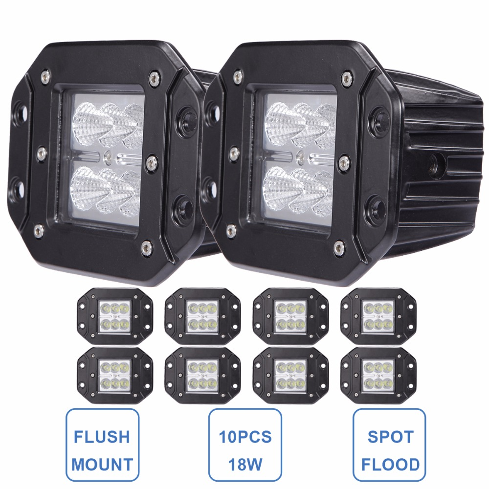 18W Offroad LED Work Light Flush Mount 12V 24V Car Truck Pickup Wagon 4X4 4WD ATV Tractor Bumper Rear Driving Headlight Fog Lamp<br><br>Aliexpress
