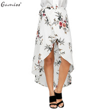 Gamiss 2017 Fashion Women Asymmetrical Boho Skirts Stylish Floral Print Slit Tie High-low Hem Woman Casual Beach Long Skirt(China)