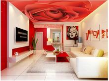 3d wallpaper custom photo non-woven wall sticker The red rose ceiling murals painting 3d wall room murals wallpaper