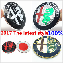 2pcs 74mm ALFA ROMEO car front hood bonnet emblem rear Trunk badge sticker for Mito 147 156 159 166 Giulietta Spider GT Car Logo(China)